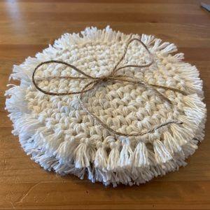 4 Boho Crochet Coasters